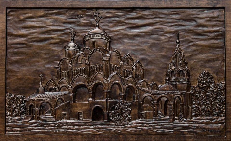 Покровский монастырь г. Суздаль Резьба по дереву. Древесина липы. 650х395х25мм 2017 год