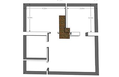 Простая планировка дома и печь